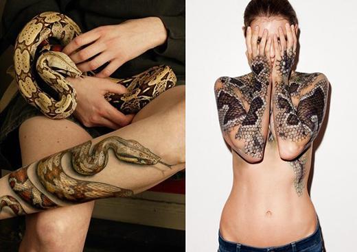 уникальная татуировка змеи